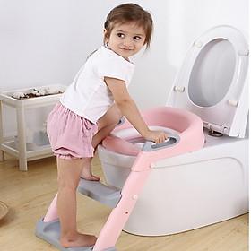 Bậc thang bồn chầu cho bé-ghế  bậc thang bồn cầu trẻ em có tay vịn-bệ ngồi toilet em bé (giao màu ngẫu nhiên)