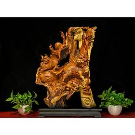 Tượng gỗ mỹ nghệ- Lưỡng lân tranh cầu- gỗ hương ta Gia Lai