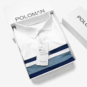 Áo Polo nam phối ngang Nelux vải cá sấu Cotton Trắng P01 - POLOMAN