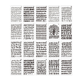 20pcs B5 Alphabet Letter Number Stencils Drawing Painting PET Templates Reusable for Journal DIY Art Craft Scrapbooking
