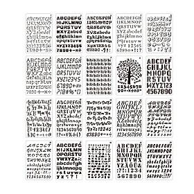 20pcs B5 Alphabet Letter Number Stencils Drawing Painting PET Templates Reusable for Journal DIY Art Craft Scrapbooking