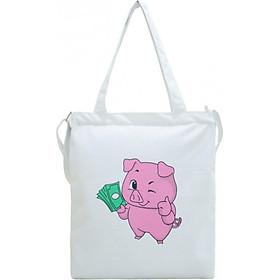 Túi Vải Đeo Chéo Tote Bag Họa Tiết Pig Money XinhStore