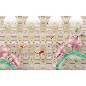 Hình đại diện sản phẩm Tranh dán tường phong thủy hoa sen cá chép 3d 60