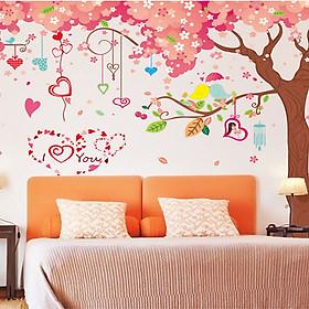 Decal dán tường hoa đào mùa xuân 3 mảnh xl9012