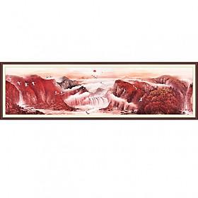 Tranh dán tường 3D vải lụa cao cấp - hạc giữa tiên cảnh, tông màu ám nâu đỏ tuyệt đẹp