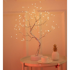 LED Babysbreath Style Copper Wire Tree Shape Night Light with Touch Sensor Switch