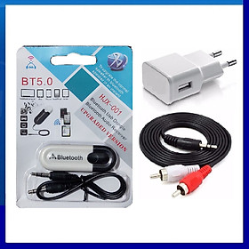 Bộ USB Bluetooth DONGLE - dây 3.5ly bông sen - cóc sạc - chuyên dùng cho amply, loa, dàn karaoke gia đình