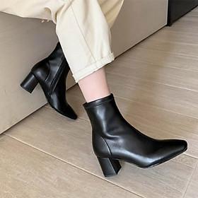 Giày boot nữ cổ ngắn thời trang gót vuông cao cấp - Giày gót vuông nữ cao 5cm - LN227