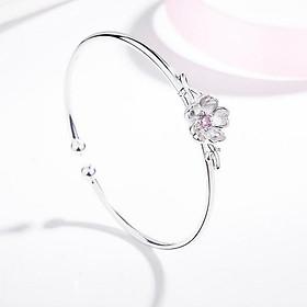 Vòng lắc tay kiềng hoa đào tam sinh tam thế bạc vòng tay cổ trang sức nữ xinh xắn tặng thẻ Vcone