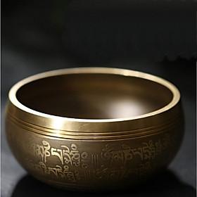 Chuông xoay tây tạng Nepal đồng vàng đường kính 9.5cm, nhiều hoạ tiết
