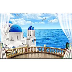 Tranh cửa sổ 3d| Tranh dán tường cửa sổ phong cảnh 3d 43