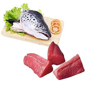 Combo: 1 cái Đầu cá hồi + 500gr Cá ngừ fillet phần đuôi