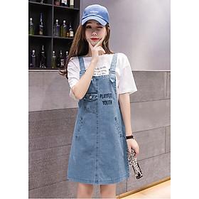 Đầm Yếm Jean Nữ Thêu Chữ Thời Trang
