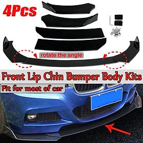 4PCS Gloss Black Front Bumper Lip Body Kit Splitter Spoiler For Car Universal