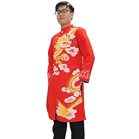 Áo dài nam vẽ rồng Xuân Hằng 203