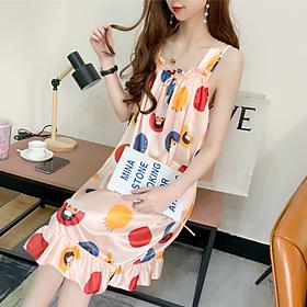 Váy ngủ nữ mặc nhà 2 dây công chúa họa tiết dễ thương - AG100
