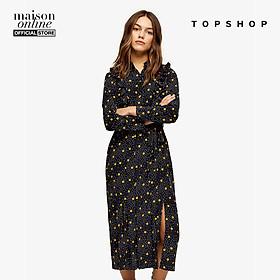 TOPSHOP - Đầm midi tay dài cổ trụ PETITE Black And Mustard Spot Print Ruffle 26G41RMUS-061