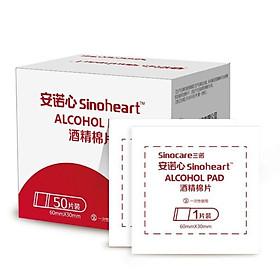 Hộp 50 Miếng Bông Tẩm Cồn Khô SINOCARE ALCOHOL PAD