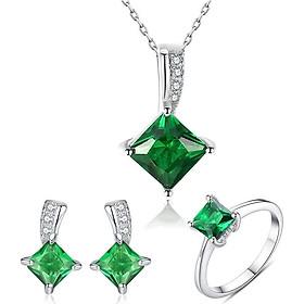 Bộ Trang Sức Nữ Ngọc Lục Bảo Quyền Quý BNT-603 Bảo Ngọc Jewelry ( Freesize )