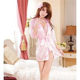 Bộ 3 đồ ngủ nội y sexy áo choàng, đồ nội y kèm quần lót gợi cảm - Màu hồng