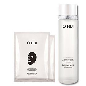 Combo nước cân bằng dưỡng trắng da OHUI Extreme White Skin Softner và 02 mặt nạ OH 3D mask