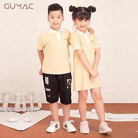 Áo thun cho bé trai phối màu cổ bẻ GUMAC AKA514