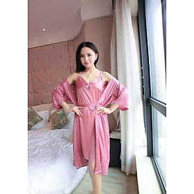 Áo Choàng Ngủ Kèm Váy Hai Dây Thun Lụa