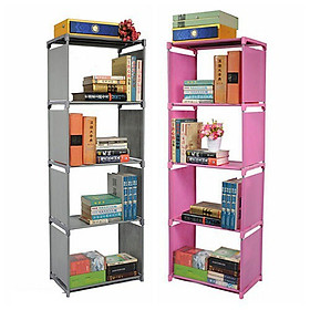 Kệ sách lắp ghép đa năng 4 tầng chắc chắn, bền đẹp, giá sách học sinh tiện dụng dễ dàng tháo lắp đựng đồ đa năng tiện lợi