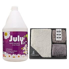 Combo nước giặt xả 2 trong 1 July 2X can 3500ml nhập khẩu Thái Lan + Set 03 chiếc khăn hiệu Fuwari Nhật Bản