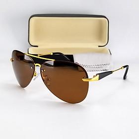 Mắt kính râm nam DKY743TR. Tròng Polarized màu nâu trà, mát và dịu mắt