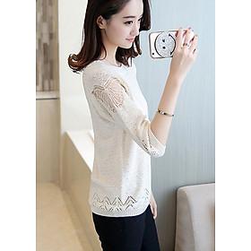 Áo len mỏng nữ vai ren hoa bướm LAHstore, phù hợp mùa xe lạnh, thời trang trẻ, phong cách Hàn Quốc