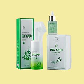 Combo Sữa Rửa Mặt Kiềm Dầu Ric Skin Và Serum Dưỡng Da HA+ - Hàng Chính Hãng Kohinoor