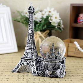 Quả cầu tuyết tháp Eiffel, Quả cầu pha lê tuyết có đèn led và tháp Eiffel - Màu bạc