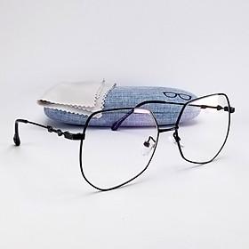 Gọng kính cận nữ - nam, 2 màu đen và vàng, tròng kính giả cận không độ trong suốt, mã DKY0045. Gọng kim loại nhẹ, không gỉ, form ôm mặt.
