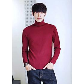 Áo thun len tay dài AT401 đỏ cổ cao