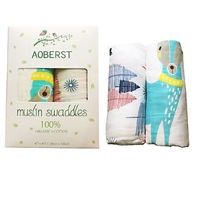 Hộp 2 khăn cuốn  muslin swaddles thương hiệu AOBERST