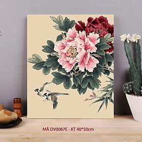 Tranh treo tường tự tô màu số hóa Tranh hoa mẫu đơn và đôi chim mùa xuân mã DV0067E