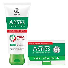 Kem rửa mặt ngăn ngừa mụn Acnes Creamy Wash (100g) + Tặng giấy thấm dầu Acnes Oil Remover Paper (50 tờ)