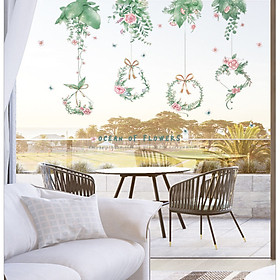 Decal dán tường Giàn hoa - Ocean of flowers trang trí nhà cửa đẹp (86 x 130 cm)