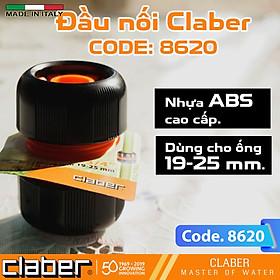 Khớp nối ống nước nhựa đa năng Claber 8620, sản xuất tại Ý, nối ống phi 15-19mm, nhựa ABS