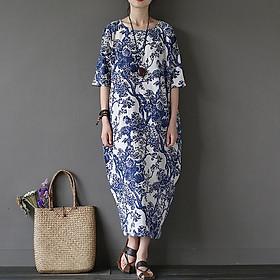 Đầm suông linen trung niên họa tiết trắng sứ ArcticHunter, thời trang thương hiệu chính hãng