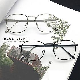 Kính Giả Cận, Gọng Kính Cận Nam Nữ Mắt Vuông Gọng Kim Loại Cứng Cáp - BLUE LIGHT SHOP