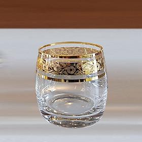 Bộ 6 Ly uống rượu Whisky, Bia, Nước 250 ml mạ vàng 24k Tiệp Khắc