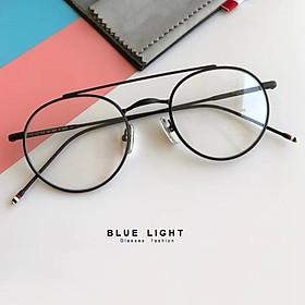 Kính Giả Cận, Gọng Kính Cận Nam Nữ Mắt Tròn Nhỏ Khung Ngang Gọng Đen Hàn Quốc - BLUE LIGHT SHOP