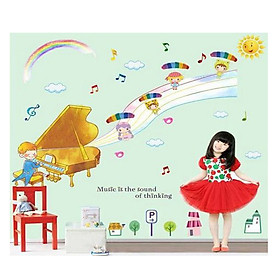 Decal Dán Tường Bé Học Đàn Piano EB186 (70 x 135 cm)
