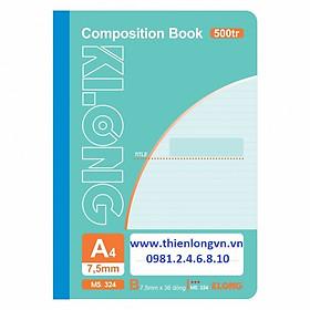 Sổ may dán gáy A4 - 500 trang; Klong 324 xanh ngọc