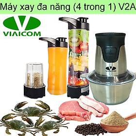 Máy xay đa năng gia đình 4 trong 1 VIAICOM V2A – Cối inox - Hàng chính hãng