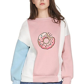 Hoody Women Korean Style Donut Print O-Neck Color Patchwork Long Seleve Fashion Trend Plus Size Blue Pink  Women's Sweatshirt!