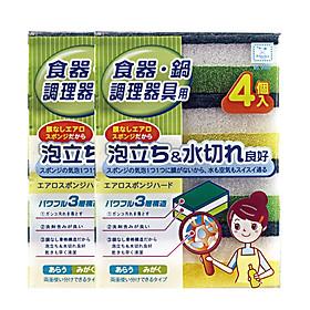 Combo Set 4 miếng xốp rửa bát một mặt cứng nội địa Nhật Bản
