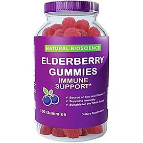 Sambucus Elderberry Gummies Family Size, 180 Gummies, for Children & Adults, with Vitamin C, Zinc & Black Elderberry Extract, Natural Herbal Supplement with Plant Pectin, Immune Support, Great Taste